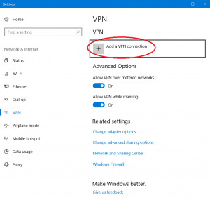 Screenshots of VPN Settings